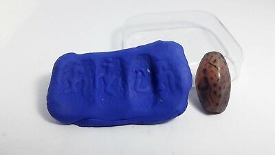 ANCIENT 3 Sides Carved Near Eastern Persian Carnelian Stamp Seal Bead with Human