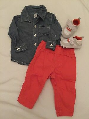 Carters Baby Boy Chambray Button Down Shirt Pants And Shoes 6M