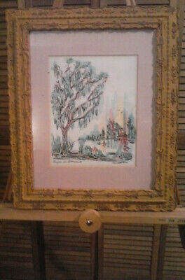 Vintage watercolor painting .Done in 1974 Donabeth Jones signed in antique frame