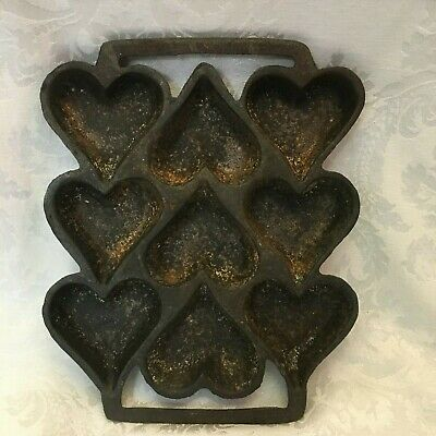 Vintage Cast Iron Nine Hearts Shape Muffin Pan @9 x 7.5 Inches Heavy Cast Iron