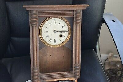 Vintage Antique Mantel Clock In Wooden Case FOR SPARES