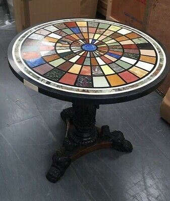 Regency Style Paw Foot Table With Specimen Marble Top 85 Cms Diameter