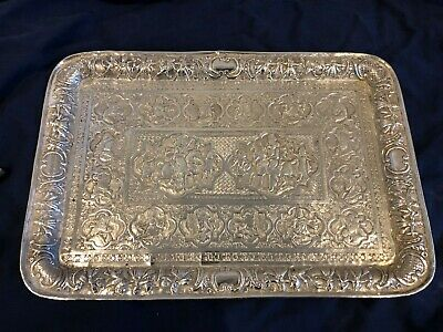 Magnificent Antique Solid Silver 84 Tray  Shiraz Islamic Qajar Persian c.1900