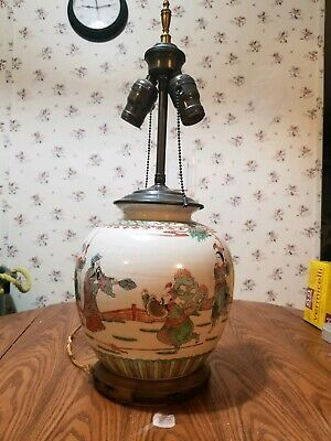 Antique asian hand painted famille vase/lamp