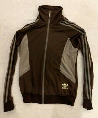 Adidas trefoil Boys Kid Youth Medium Zip Up Track Jacket Brown