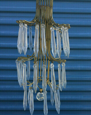 Vintage Antique Glass Icicle Crystal Brass Chandelier Ceiling Non-Electric Rare