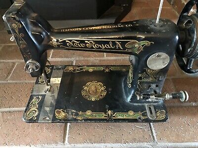 Rare Antique 1800s New Royal Sewing Machine / Illinois Sewing Machine Co.