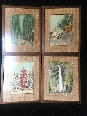 An Eiichi Kotozuka Japanese Woodblock Print Collection Of 4 Framed 10 X 7
