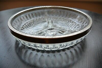 Vintage art deco Glass Serving dish, with silver plate rim and three sections