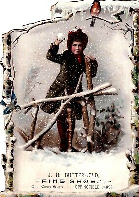 ANTIQUE 1800s VICTORIAN TRADE CARD WINTER GIRL TOSSING SNOW BALL GLITTER*