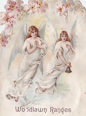 "1800s ANTIQUE ""ROYAL WOOD LAWN RANGE"" DIE CUT TRADE CARD TWO WHITE ANGELS.*"