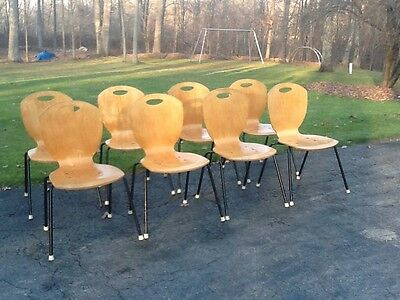 Lot Of 8 Vintage Matching Allseating Co. Mid Century Bentwood Chairs. Very Good
