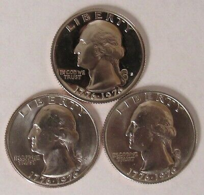 1976 P,D&S Washington Quarters in BU and Proof condition