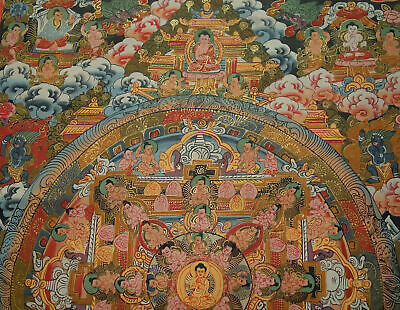Very Fine and Lots Gold - Thangka Buddha Mandala from Nepal 17 11/16x13 13/16in