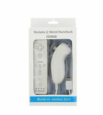 White Built-in Motion Plus Wii Remote + Nunchuck Controller(Wii controlle... New