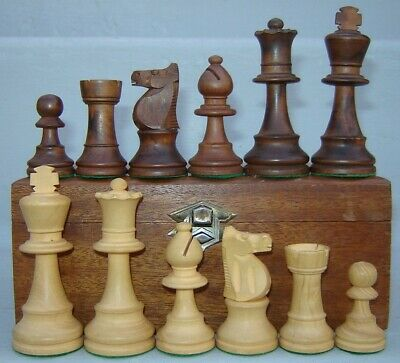 Vintage 3.25 inch French Lardy Staunton Chess Set men pieces in Wood Box France