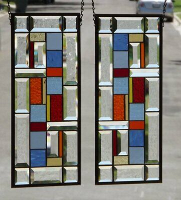•Summer Time •  Pair of Stained Glass Window Panels