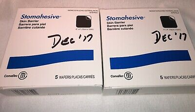 "10 Convatec  21712 SKIN BARRIERS 4""x 4""  WAFERS Exp 10/2020 Writing on Box"