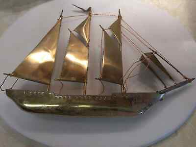 """Vintage Brass Sailboat 9"""" tall by 12"""""""" long. Hand made."""