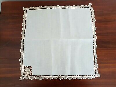 Vintage White Linen & Ecru Lace Table Napkins Brand New 8 in set