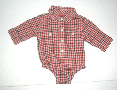 Infant Boys Baby Gap Red & Blue Check Flannel Button Down Bodysuit Shirt 0-3 Mon