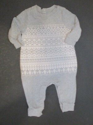 Infant Boys Baby Gap Gray & White Fair Isle Longall Outfit Size 6-9 Months