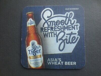 1 only TIGER Breweries ,Singapore, White Beer Issue BEER COASTER