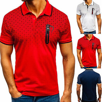 Men's Slim Fit Polo Shirts Short Sleeve Casual Golf T-Shirts Sports Jersey Tops