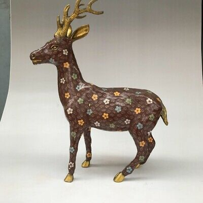 CHINESE ANCIENT CLOISONNE STATUE HAND-CARVED EXQUISITE LARGE DEER g13