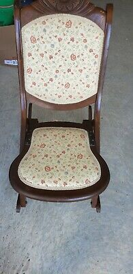 Antique Folding Rocking Chairs - Floral Tapestry Seat/Back