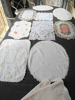 Selection Of 10 Beautiful Vintage Doilies, Table Centres,Lace & Embroidered