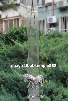 43CM Miao Silver Handwork Chinese Zodiac Animal Horse Amulet Necklaces & Pendant