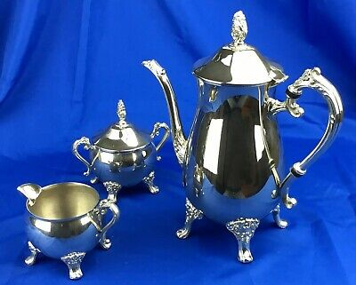 3 Piece Tea Set, Silver Plate EPNS, Tea Pot, Sugar & Milk Jug