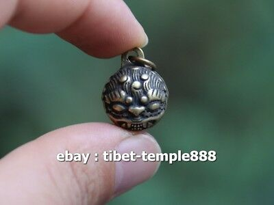 Chinese Pure Bronze Handwork Foo Dog Lion small bell Amulet Pendant Necklace