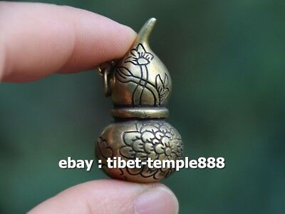 Chinese Handwork Hollow Out Bronze Gourd Lotus Flower Amulet Pendant Necklace