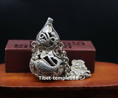 13 CM Hollowed-out bottle gourd Lotus carp Fish China miao silver Amulet Pendant