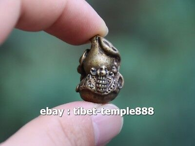 Chinese Pure Bronze Calabash Vine Gourd Fengshui Animal Amulet Necklace Pendant
