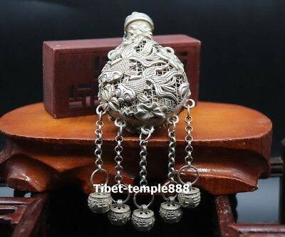 20 CM China miao silver Hollowed-out bottle Lotus Fish Small bell Amulet Pendant