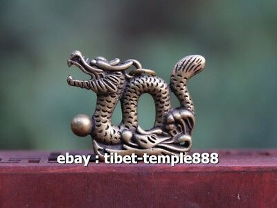 4 CM China Pure Bronze Counteract Evil Force Zodiac Animal Dragon Amulet Pendant