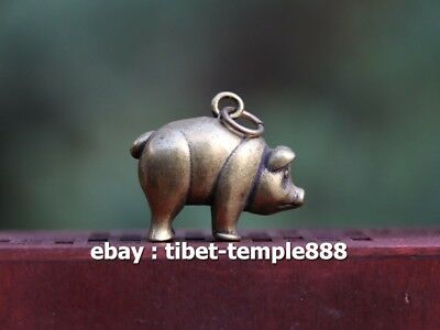 3 CM 100% Pure Bronze China Zodiac Animal Pig Hog Swine Sculpture Amulet Pendant