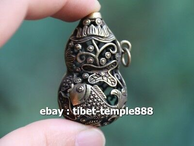 4.5 CM Chinese Pure Bronze Handwork Hollow Out Lotus Fish Gourd Amulet Pendant
