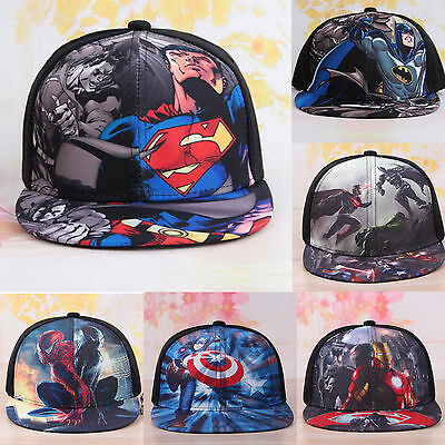 Kids Boys Casual Outdoor Baseball Cap Hip Hop Superhero Snapback Adjustable Hats