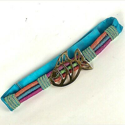 Womans Designer Belt By Susan Maddox Atlanta Brass Fish Colorful Cord 28-36""