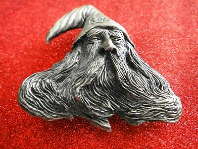 1979 American USA Pewter Belt Buckle  OLD WIZARD FACE   Made in USA