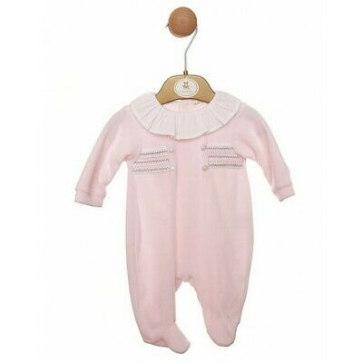 Mintini Baby Girl Pink Velour Smocked Babygrow Sleepsuit Rompers Frill Collar