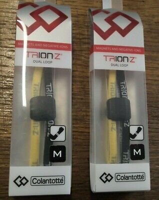 Genuine Trion Z Dual Loop  Ionic Wristband Black/Yellow Medium  By Colantotte