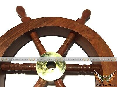"6"" Wood & Brass Ship Wheel Pirate Boat Maritime Captain Nautical Wall Decorative"