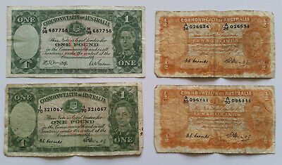 4 Commonwealth Of Australia Banknotes - One Pound - Ten Shillings -1940'S