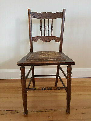 Antique Wooden Pressed Back Spindle Chair - 1800's Australian Original