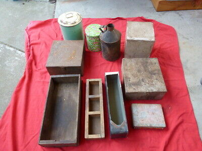 Collection of Tin Containers and Wooden Boxes, Kitchen, Garage, Display,